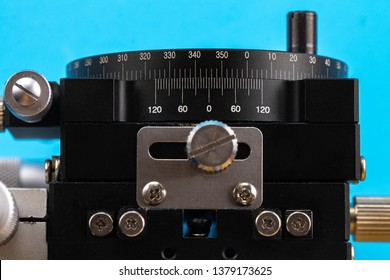 adjustment wheel on microscope detail