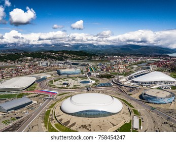 ADLER, RUSSIA - APRIL 25, 2017: Sochi olympic park and Formula 1 trace from aerial view