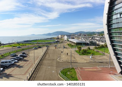 Adler, Sochi, Russia - may 05, 2019: View of the city and the sea from the stairs of the modern passenger railway station. Sunny spring day