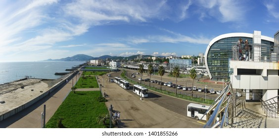 Adler, Sochi, Russia - may 05, 2019: View of the modern city from the observation deck of the new passenger railway station