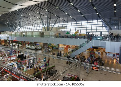 Adler, Sochi, Russia - may 05, 2019: waiting Room at the passenger railway station. Shopping centers with Souvenirs and fast food