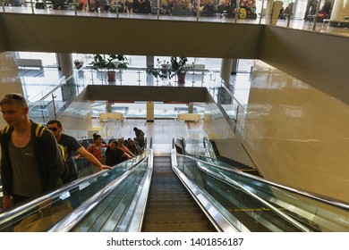 Adler, Sochi, Russia - may 05, 2019: Escalators in the new modern railway station. Travelers climb with comfort