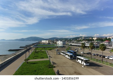 Adler, Sochi, Russia - may 05, 2019: the station territory with bus stops and Parking of the modern passenger railway station