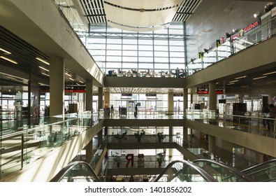Adler, Sochi, Russia - may 05, 2019: Five floors of a modern passenger railway station. Lots of glass and sunlight