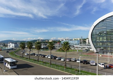 Adler, Sochi, Russia - may 05, 2019: View of the modern city from the observation deck of the new passenger railway station. Car Parking and bus stops for the convenience of passengers and greeters