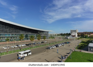 Adler, Sochi, Russia - may 05, 2019: Passengers arrive at the new modern passenger railway station by car and bus