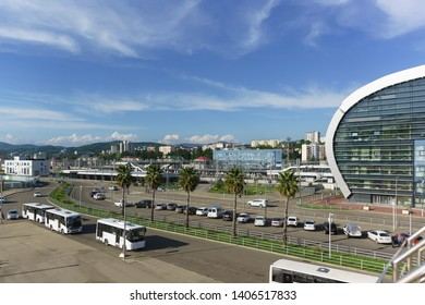 Adler, Sochi, Russia - may 05, 2019: View of the modern city from the new passenger railway station