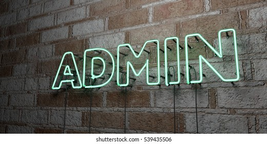 ADMIN - Glowing Neon Sign on stonework wall - 3D rendered royalty free stock illustration.  Can be used for online banner ads and direct mailers.