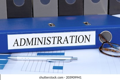 Administration - blue binder in the office