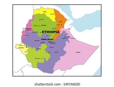 Administrative Map Ethiopia Stock Illustration 149196044 Shutterstock