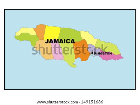 Administrative Map Jamaica Stock Photo (Edit Now) 149151686 ...
