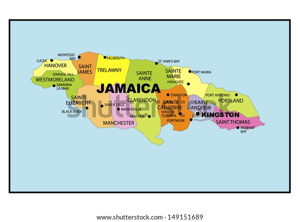 Administrative Map Jamaica Stock Photo (Edit Now) 149151689