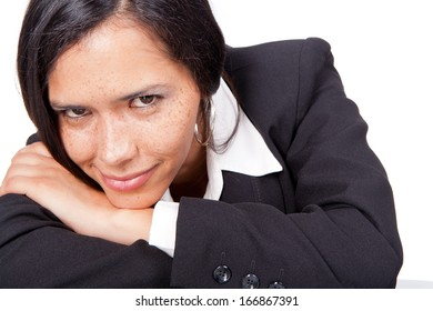 administrative smiling woman with air