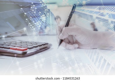 Administrator business man financial inspector and  making report, calculating balance. Internal Revenue Service checking document. Audit concept