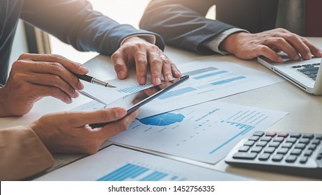 Administrator business man financial inspector and secretary making report calculating balance. Internal Revenue Service checking document. business concept