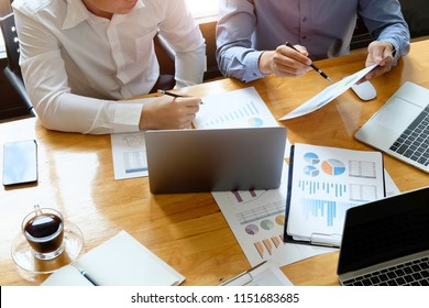 Administrator businessman inspector and secretary making report with consult meeting to analyze and discuss the situation on the financial.