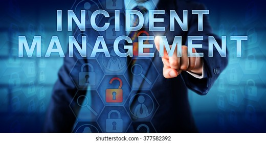 Administrator is pushing INCIDENT MANAGEMENT on a touch screen interface. Technology metaphor and business concept. Magnifier icons relating to incident detection, investigation and analysis.