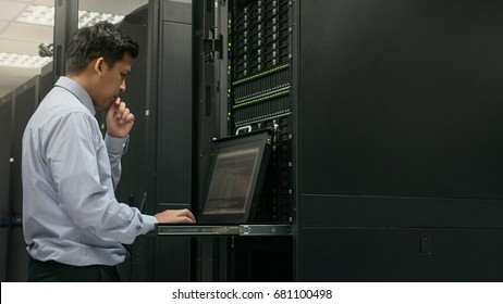 Administrator serious working with system in data center