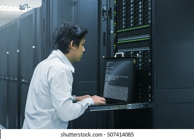 Administrator working in data center