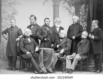 Admiral David Farragut (standing left), General Ulysses S. Grant (standing third left) with other Civil War leaders and statesmen, ca. 1865