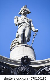 Admiral Horatio Nelson sitting proudly ontop of Nelsons Column in Trafalgar Square, London.