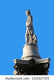 Admiral Nelson,  statue in profile in London.