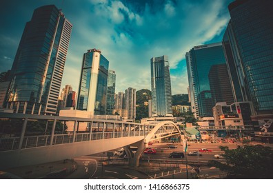 Admiralty, Hong Kong - 03 June, 2019 : Architectures close up view around  Tamar Park, Hong Kong in sunset.