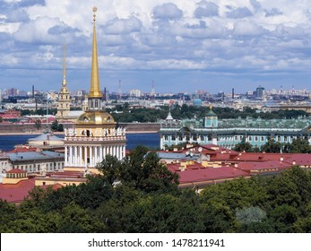 Admiralty of St. Petersburg. Spire of the Admiralty, the spire of the Peter and Paul Fortress can be seen from behind