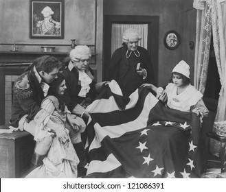 Admiring the Betsy Ross flag