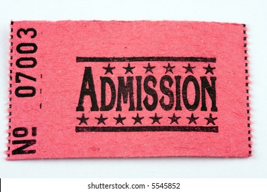 An admission ticket set against white background