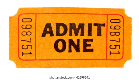 Admit one ticket isolated