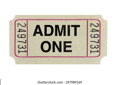 Admit one ticket isolated on white.