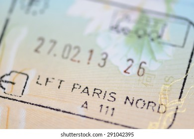 Admitted stamp of Paris Visa for immigration travel concept