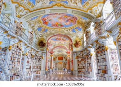 Admont/Austria-April 15 2017:  With the combination of art, For Now The Library of the Benedictine Monastery is a World-Class place that you must come once in life time. April 15 2017-Admont Austria.