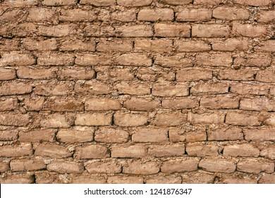 adobe brick background in desert, Morocco, Africa