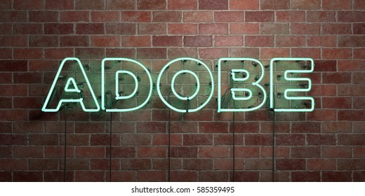 ADOBE - fluorescent Neon tube Sign on brickwork - Front view - 3D rendered royalty free stock picture. Can be used for online banner ads and direct mailers.