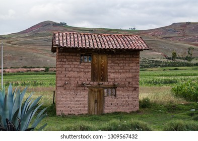 Adobe house near the architectural place of Moray, Cusco, Peru.
