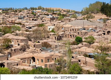 Adobe houses in the old part of the town of Rayen in Iran