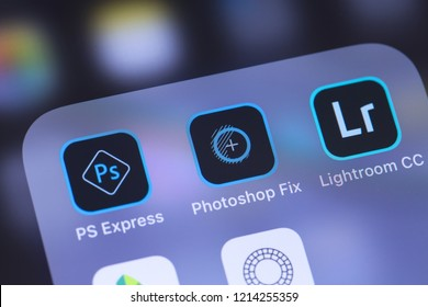 Adobe Inc. mobile apps icon on the screen smartphone. Adobe Systems Incorporated is an American multinational computer software company. Moscow, Russia - October 27, 2018