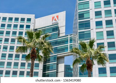 Adobe logo is displayed on Adobe office headquarters towers. Logo features the alphabet 'A' portrayed in white on a red background - San Jose, California, USA - April 7, 2019
