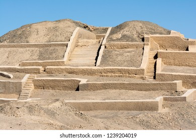 Adobe pyramid at Cahuachi archeological site, the main ceremonial center of Nazca culture, Peru