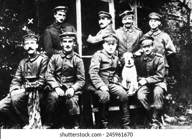 Adolf Hitler, front row, left with a group of German Soldiers during WWI. Ca. 1916-18.