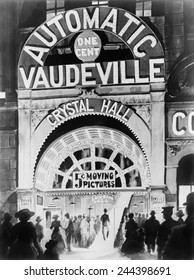 Adolph Zukor's 1903 penny arcade, Crystal Hall near Union Square, New York City. Zukor had actors recite dialogue in synchronization with short silent movies.