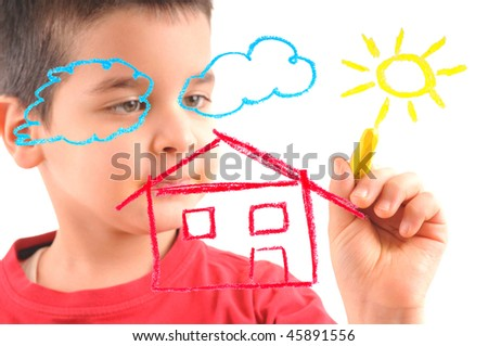 59c9e53ecd30 Adorable 6 years old boy painting a house on glass. White background high  resolution studio