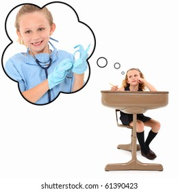 Adorable 7 year old american girl in school desk dreaming about becoming a surgeon over white background.