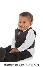 Adorable African American Boy Wearing Formal Wear Sit Portrait Isolated on White