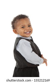 Adorable African American Boy Wearing Formal Wear Standing Portrait Isolated on White