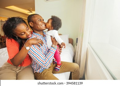 adorable african family at home