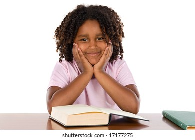 Adorable african girl studding a over white background