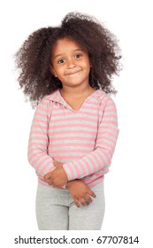 Adorable african little girl with beautiful hairstyle isolated over white